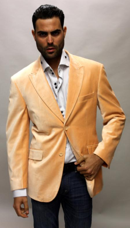 SKU#KA1245 SOLID PEACH SUPER 150S VELVET SPORT COAT THIS JACKET IS A WINNER 2 BUTTON WITH BACK VENT