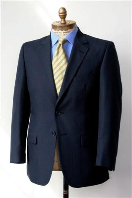 SKU#KA1248 Men's 2 Button Single Breasted Wool Suit Navy $225
