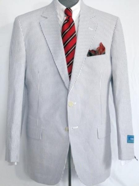SKU#KA1249 Men's 2 Button Single Breasted Wool Suit Blue / White $225