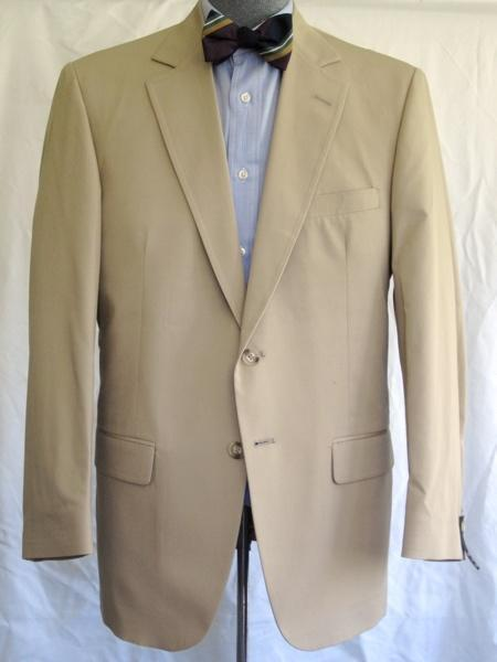 SKU#KA1250 Men's 2 Button Single Breasted Wool Suit Tan $225