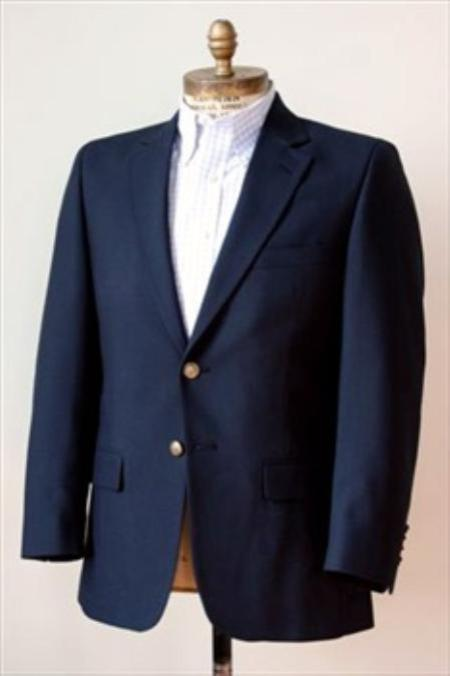 SKU#KA1256 2 Button Big and Tall Size blazer 56 to 80 Wool Suit Navy $225