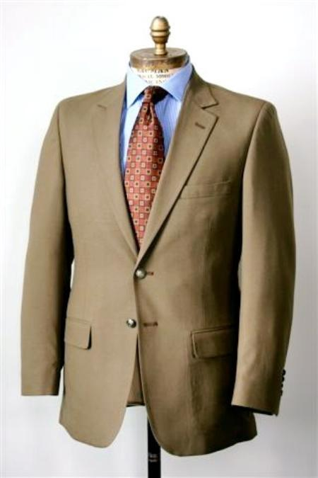 SKU#KA1257 Men's 2 Button Single Breasted Wool Suit Brown $225