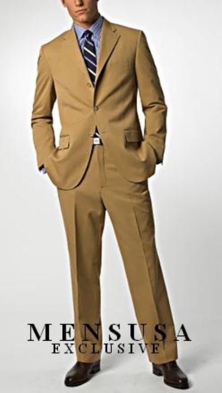 SKU#KA1261 Dark Camel ~ Khaki/Bronz/Tan 3 buttons Super 150s Wool Feel Poly-Rayon premier quality italian