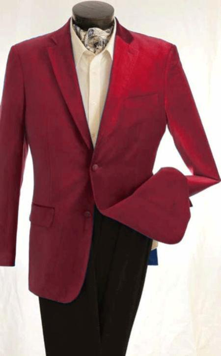 SKU#KA1273 Mens Fashion 2 Button Velvet Winish Burgundy ~ Maroon ~ Wine Color Maroon Jacket $125