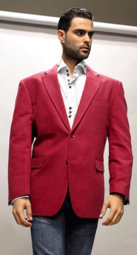 SKU#KA1274 Sport Coat Its One of a Kind Super 150s For All Occasion Winish Burgundy Maroon Velvet $139