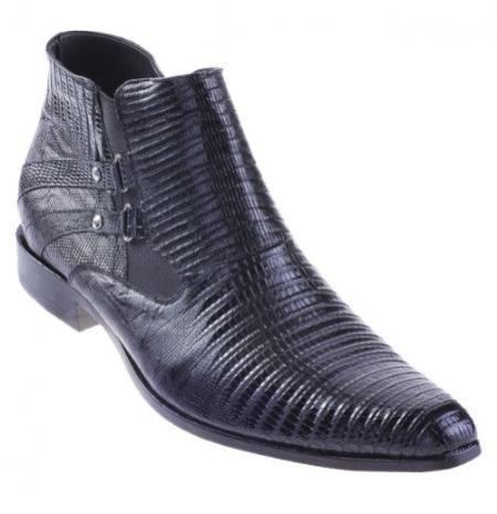 SKU#KA1279 Black Genuine All-Over Lizard Teju Cowboy Shoes