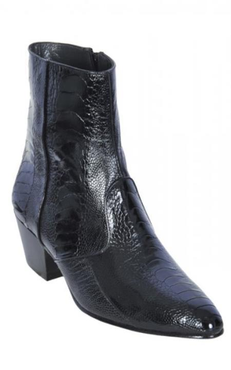 SKU#KA1280 Black Genuine All-Over Ostrich Leg Dressy Boots With Zipper