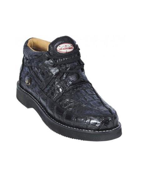 SKU#KA1281 Black Genuine All-Over Crocodile ~ Alligator Casual Shoes