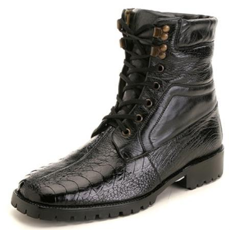 SKU#FZ1283 Belvedere Men's Black Genuine Ostrich $275