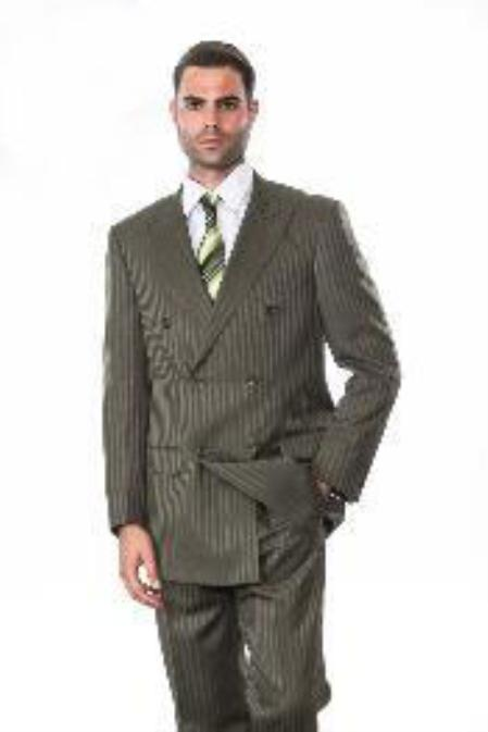 SKU#KA1286 Double Breasted Olive Suit with Tonal Stripes $185