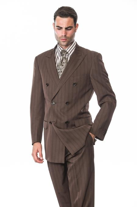 SKU#KA1289 BROWN CLASSIC DOUBLE BREASTED MENS SUIT WITH TONE ON TONE STRIPE SUPER 150S EXTRA FINE H