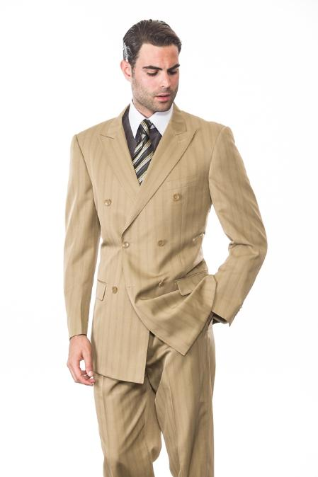 SKU#KA1290 TAN CLASSIC DOUBLE BREASTED MENS SUIT WITH TONE ON TONE STRIPE SUPER 150S EXTRA FINE HAND