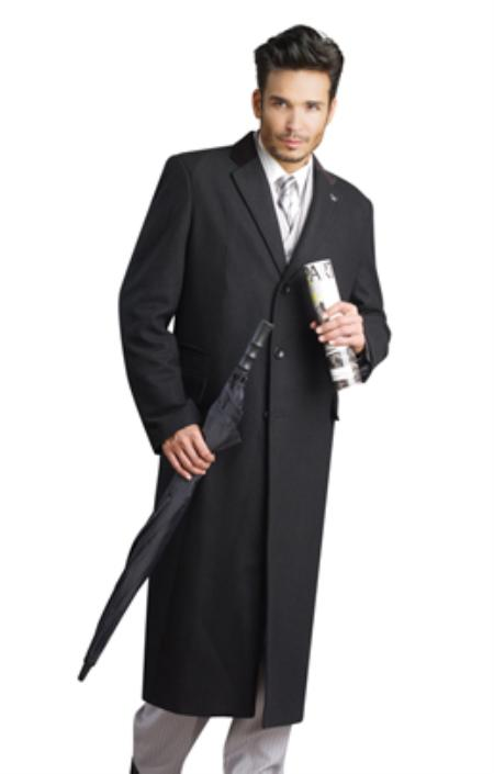 MensUSA.com Mens Black Stylish Overcoat(Exchange only policy) at Sears.com