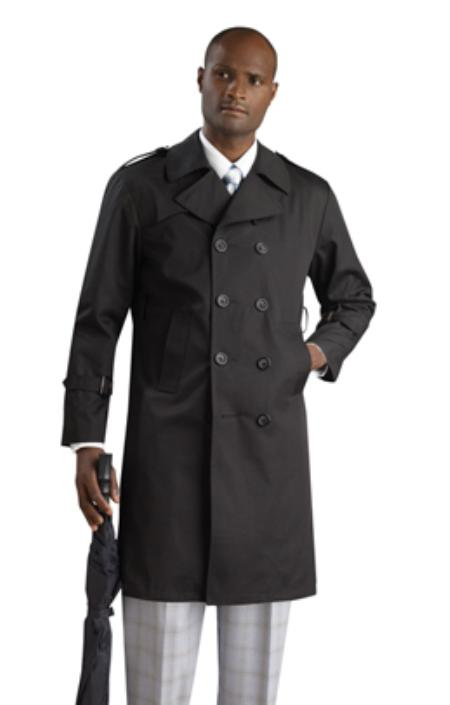SKU#KA1232 Mens Stylish Black Rain double breasted Coat ~ Trench Coat