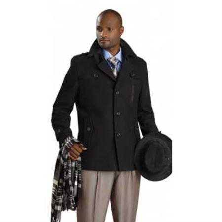 MensUSA.com Black Stylish Mens Overcoat(Exchange only policy) at Sears.com
