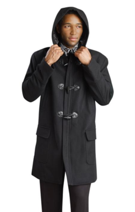 MensUSA.com Black Mens Stylish Overcoat(Exchange only policy) at Sears.com