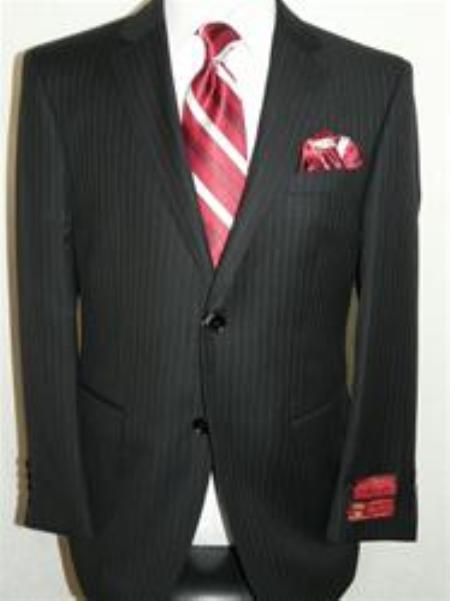 SKU#KA12402 Authentic Mantoni Brand Pin Stripe Suit By Mantoni $175