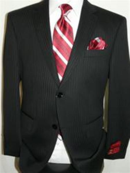 SKU#KA12404 Authentic Mantoni Brand Shadow Stripe ~ Pinstripe Suit by Mantoni