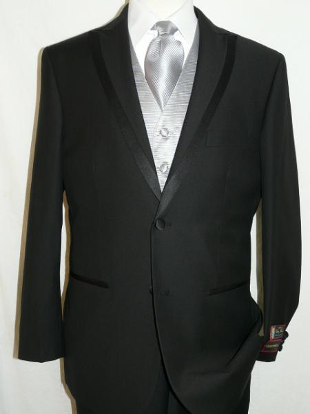SKU#KA1246 Spencer Tuxedo Soft Micro Fiber Peak Lapel 2 Button Plain Front Pants
