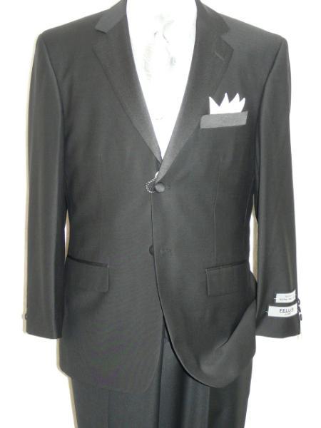 SKU#KA1247 Black Tuxedo Soft Micro Fiber Notch Lapel 2 Button Plain Front Pants $175