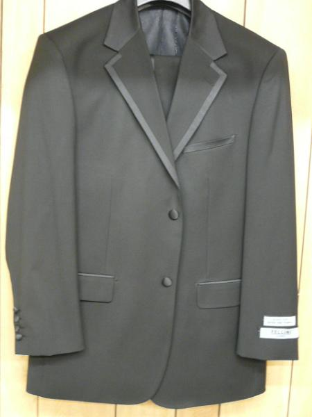 Victorian Mens Suits & Coats Napoli 2 Button Black Tuxedo $175.00 AT vintagedancer.com