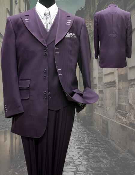 SKU#KA1249  PLUM FASHION SUIT 3PC WITH VEST & WIDE LEG PANTS $210