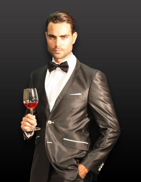 SKU#KA1251 BLACK 2PC 2 BUTTON SHARK SKIN MENS SUIT WITH CONTRAST BUTTON HOLE WITH TRIM $180