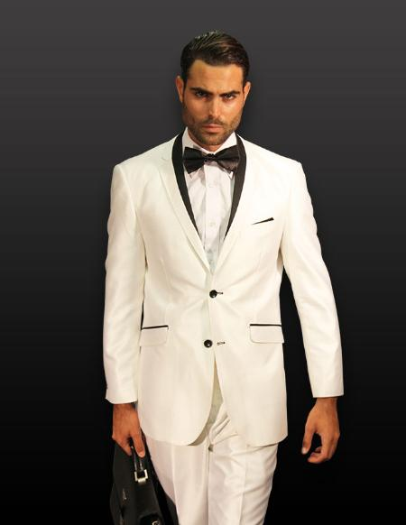 SKU#KA1256 WHITE 2PC 2 BUTTON SHARK SKIN MENS SUIT WITH CONTRAST BUTTON HOLE WITH TRIM $180