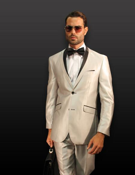 SKU#KA1257 SILVER 2PC 2 BUTTON SHARK SKIN MENS SUIT WITH CONTRAST BUTTON HOLE WITH TRIM $180