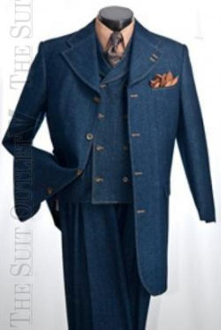 SKU#KA1264 Mens Denim Four Button Three Piece Suit - High Fashion Double Breasted Vest $139