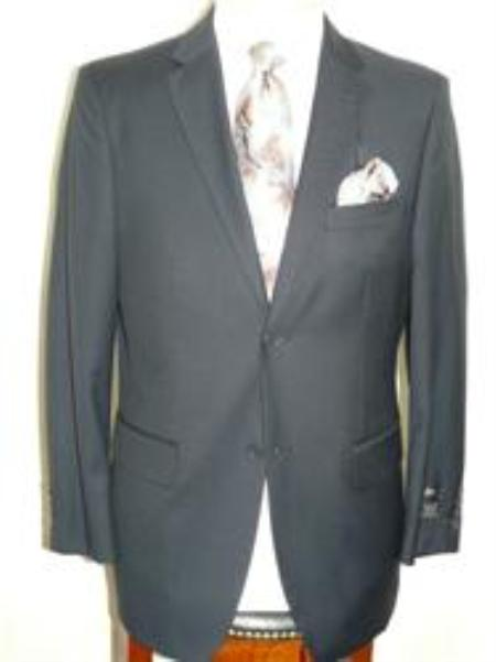 SKU#ANA_202_M156 Solid Navy Blue Extra Fine Poly-Rayon-Wool Feel Summer Light Weight Fabric Suit