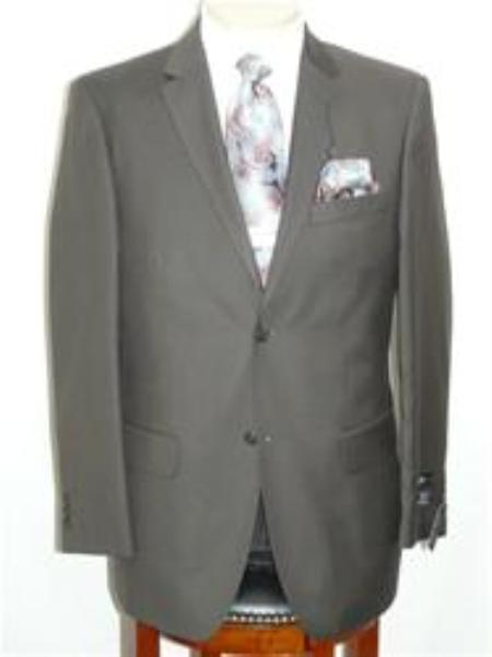SKU#ANA_202_M156 Solid Olive Extra Fine Poly-Rayon-Wool Feel Summer Light Weight Fabric Suit $129