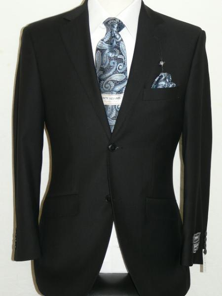 SKU#ANA_202_M156 Black Extra Fine Poly-Rayon-Wool Feel Summer Light Weight Fabric Suit $ 129