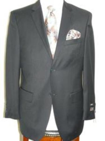 SKU#ANA_202_M156 Navy Extra Fine Poly-Rayon-Wool Feel Tone on Tone Summer Light Weight Fabric Suit $129