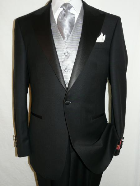 SKU#KA1280 Black Tuxedo 100% wool super 140s suit
