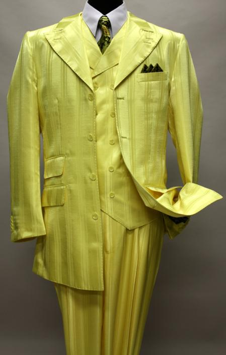 SKU#KA1281 YELLOW SHADOW TON ON TON PEAK LAPEL FASHION SUIT 3PC WITH VEST & WIDE LEG PANTS $179