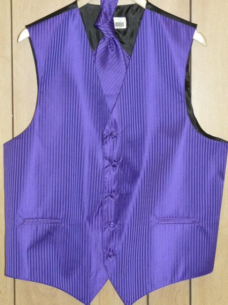 SKU#KA1317 PURPLE ( Comes in different colors ) VEST & TIE SET $49