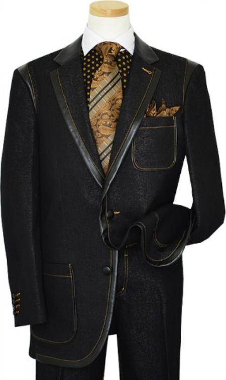SKU#KA1327 Black Denim Iridescent Suit With Rust Hand-Pick Stitching 100% Cotton