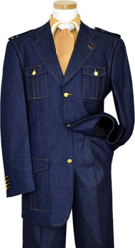SKU#KA1328 Blue Denim Iridescent Suit With Cognac Hand-Pick Stitching And Shoulder Epaulettes 100% C