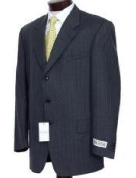 SKU# GGB324 Dark Charcoal Multi Pinstripe Business Suits Super 120s Wool  non back vent coat style coat  Pleate $275