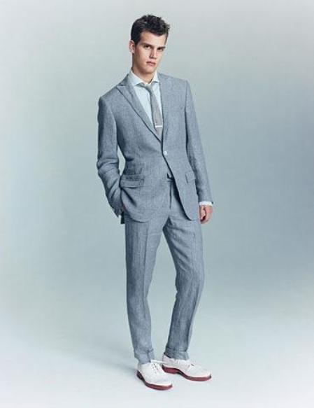 SKU#KA1332 Mens Blue Linen Suit 2-Button 100% Irish Linen $175