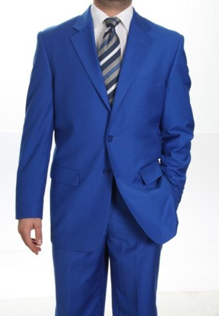 SKU#KA1336 Mens Two Button Suit Royal Blue $175