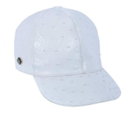 SKU#KA1337 Los Altos White Genuine Ostrich Baseball Hat