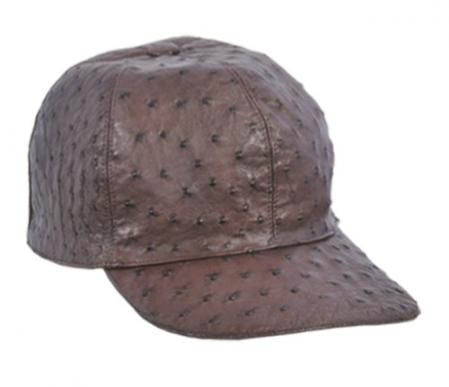 SKU#KA1338  larger image Los Altos Brown Genuine Ostrich Baseball Hat $189