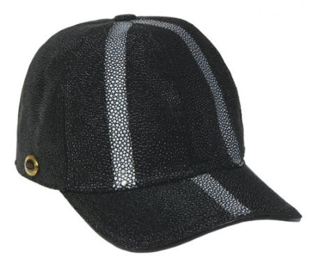 SKU#KA1343 Los Altos Black Genuine Stingray Rowstone Baseball Hat $229