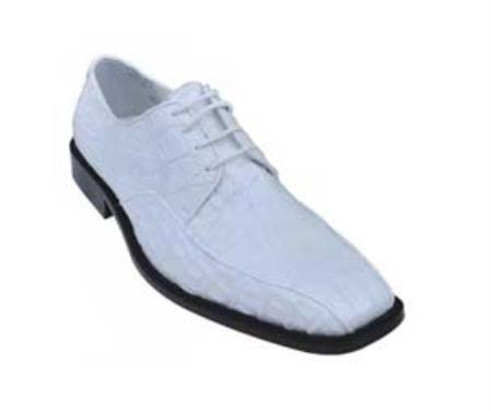 SKU#KA1345 Los Altos White Genuine All-Over Smooth Crocodile Shoes $389
