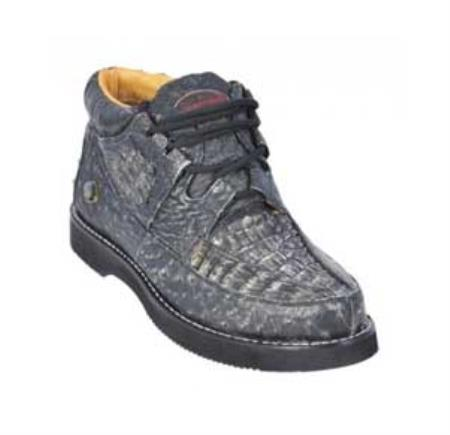 SKU#KA1347 Los Altos Rustic Black Genuine Crocodile ~ Alligator / Ostrich Casual Shoes