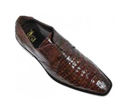 SKU#KA1351 Los Altos Brown Genuine All-Over Crocodile Belly Shoes $329