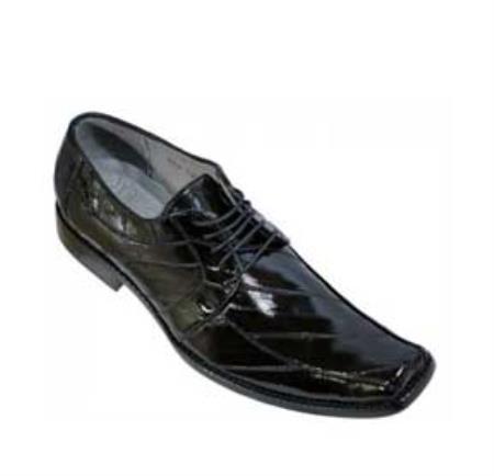 SKU#KA1352 Los Altos Black All-Over Genuine Eel Shoes