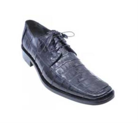 SKU#KA1353 Los Altos Black Genuine All-Over Crocodile ~ Alligator Belly & Eel Shoes